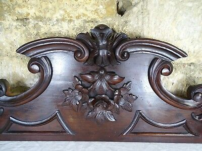 "36.6"" Antique French Carved Wood Architectural Pediment Panel Mahogany"