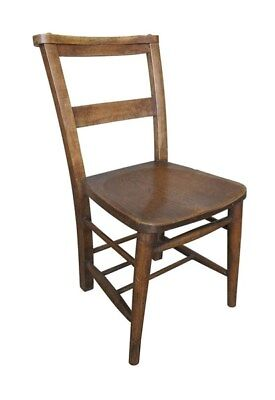 Antique Dark Church Chairs Without Bible Backs - Kitchen Seating