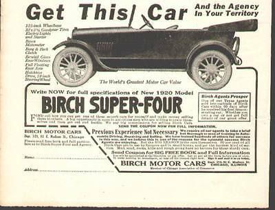 1920 ad for the Birch Motor Cars of Chicago shows a Birch Super Four (very rare)