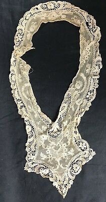 "Antique Jabot Collar Ivory Lace Embroidery Crochet Vintage 20"" long"