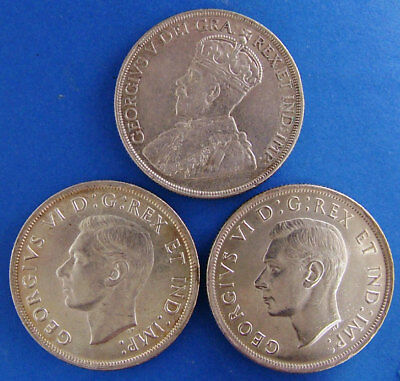 3 Piece Lot Canadian Silver Dollar 1936 1937 1939 Canada $1 Silver Coin