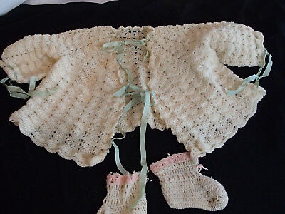 Vintage size 0-3 mnth old baby doll handmade Crochet sweater booties cream pink