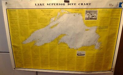 Nautical Paper Chart Lake Superior Diving Chart - Midwest Explorers League 1990