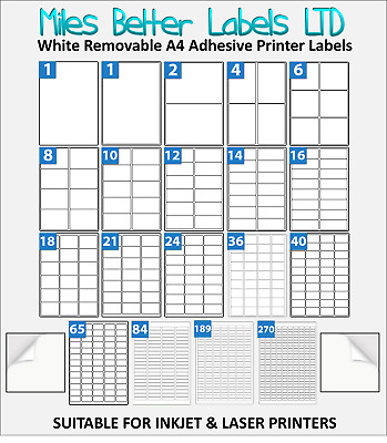 Easy Peel Removable Self Adhesive White Address Labels A4 Sheets WTR