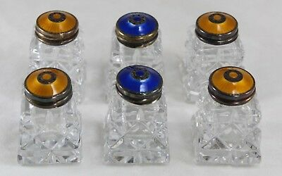 NORWAY 6 Pcs YELLOW & BLUE Guilloche Enamel Sterling Silver Crystal Salt Pepper