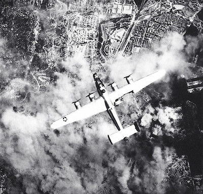 B&W WW2  Photo B-24 Liberator Bomber Flak Damage  WWII USAAF World War Two USAAC