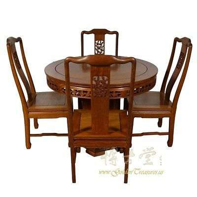 Vintage Chinese Rosewood Round Dining Table with 4 Chairs