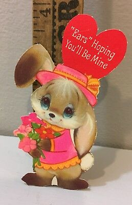 Vtg Valentine Card 70s Big Eyes Bunny Rabbit Mod Pink Clothes Ears Hoping Unused