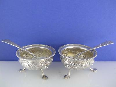 pr Sterling SALT CELLARS DISHES w/ SPOONS ornate repousse scroll floral pattern