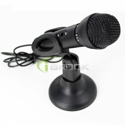 3.5mm Stereo Studio Speech Microphone Mic Stand Mount For PC Laptop Skype New