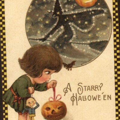 Scarce.! .freixas Halloween Girl With Puppet;starry Witch In Sky,winsch Postcard