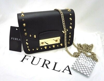 8e2e1bc06700 New Authentic Furla Julia Mini Gold Studded Onyx Black Leather Crossbody Bag