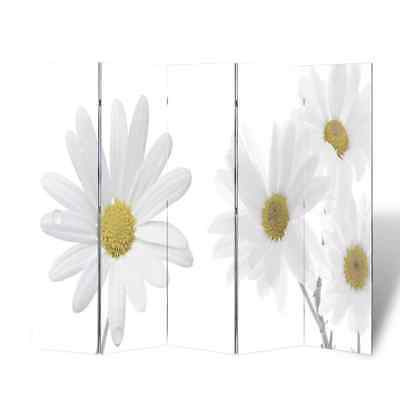 Room Divider Double Sided Beach Print Privacy Folding Screen Flower 200x180 cm
