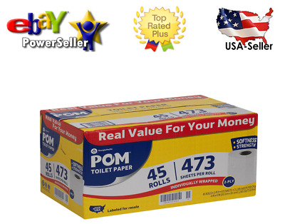 Original-POM Bath Tissue, 2 Ply (473 sheets, 45 rolls)-Free Return***