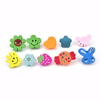 10xMulti-Coloured Cartoon Assorted Push Pins Drawing Cork Board Office Supply AU