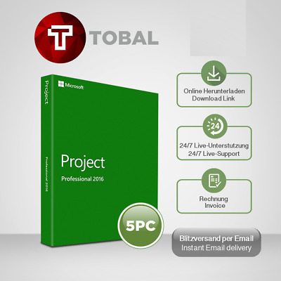 MS Project/Visio 2016 Professional 32&64 bits 1-5 PC produkt key per email