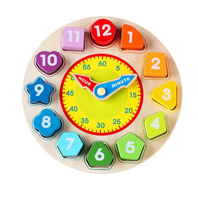 Wood Oxford Wooden Shape Sorting Clock / with Numbers and Shapes Blocks Toy CB
