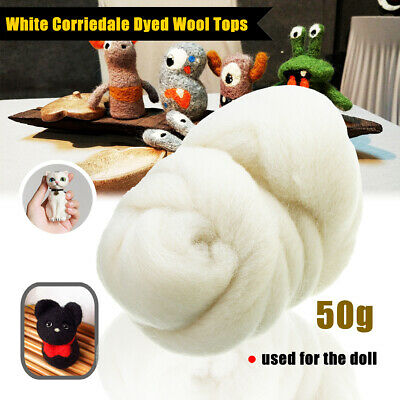 50g White Color Roving Wool Fibre Dyed Wool Tops For Needle Felting DIY Craft