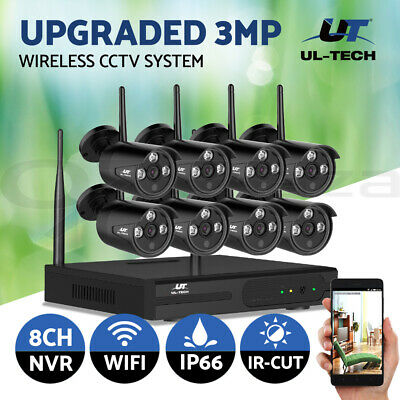 UL-tech Wireless CCTV Security Camera System IP 1080P WIFI 8CH NVR Day Night