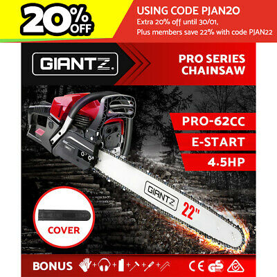"GIANTZ Latest 62cc Petrol Commercial Chainsaw 22"" Bar E-Start Chain Saw Pruning"