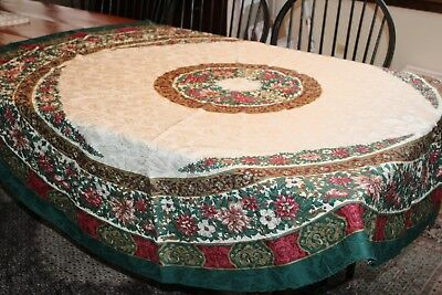 """Vintage Christmas Tablecloth 70"""" Round Poinsettias Swirls Leaves"""