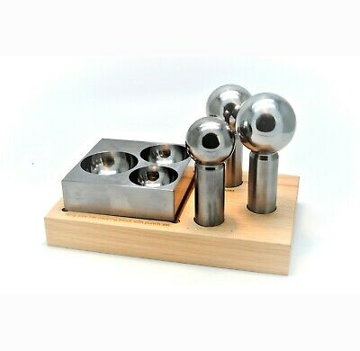 Doming Dapping 3 Piece Punch Set, 35, 40, 45mm Punches & Steel Block J1476