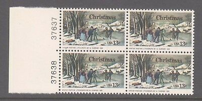 USA 1976 Christmas Mint unhinged Plate  block 4 stamps .