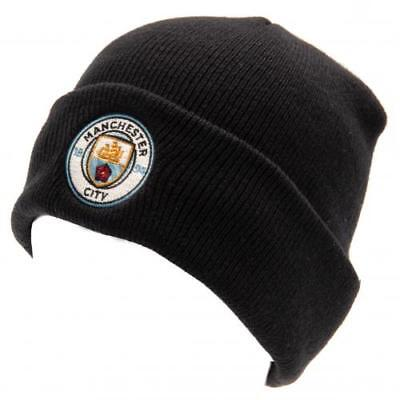 Manchester City Man Fc Knitted Beanie Hat Turn Up Adult One Size