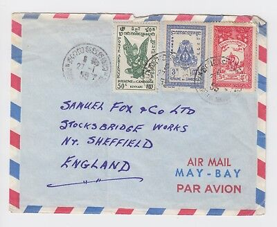 1955 Air Mail Canadian Truce Team Phnom Penh  Cambodia Cover to England