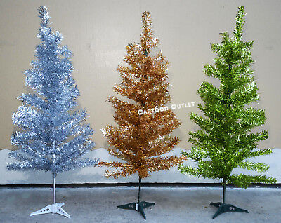 Retro Silver Tinsel Artificial Christmas Tree With Clear Lights
