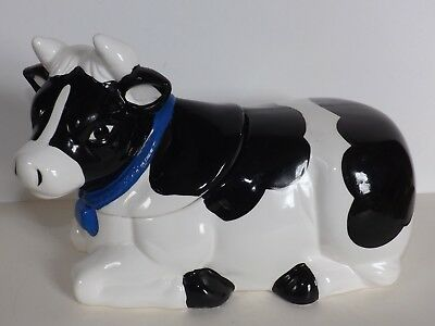 Vintage Holstein Cow Bull Cookie Jar With Blue Collar Ceramic AMC NY NY