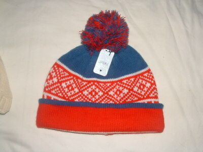 Bnwt   Next  Boys Red/blue/white Bobble Hat   Age 5-6 Years