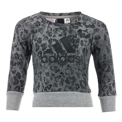Infant Girls adidas Crew Sweat In Grey- Ribbed Cuffs, Collar And Hem- All Over