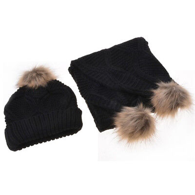 Wool Winter Hat and Scarf Set Women Warm Knitted Beanie with Pom Pom Ball D