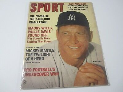 1965 Sport Magazine MICKEY MANTLE New York Yankees MLB Baseball Joe Namath