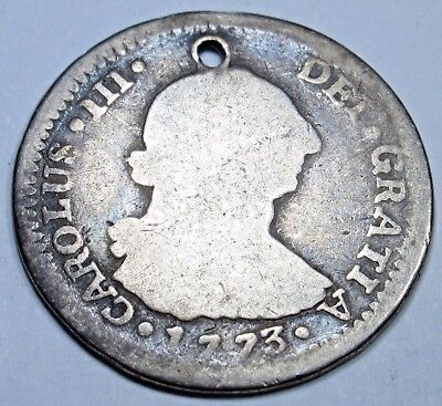 1773 G P Spanish Guatemala Silver 1 Reales Piece of 8 Real Colonial Pirate Coin