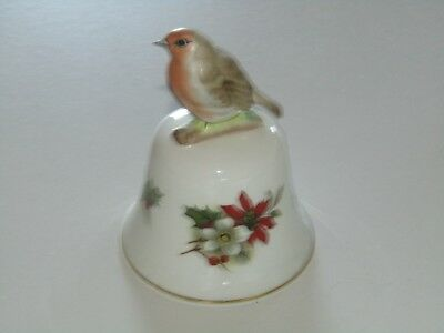 Crown Staffordshire Made in England bone china ceramic bell robin ornament 10cm