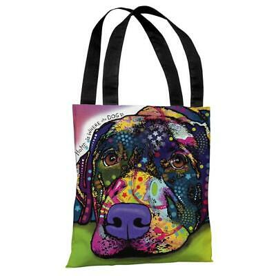 One Bella Casa 72127TT18P 18 in. Savvy Lab with Text Polyester Tote Bag by De...