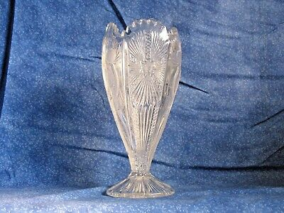 Victorian EAPG Early American Pattern Glass Antique Flower Vase Four Mould Mint