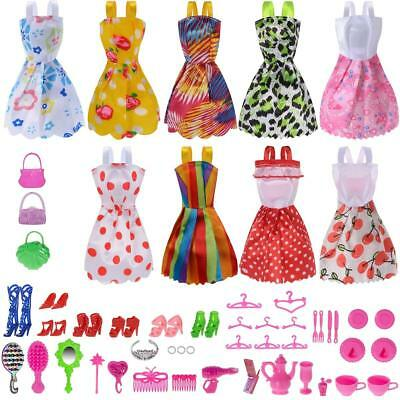 48 Pack Set Barbie Doll Clothes Party Gown Outfits Shoes Accessories Dolls Girls