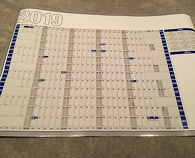 2019 Large Laminated Year / Wall Planner Brand New in Cardboard Tube