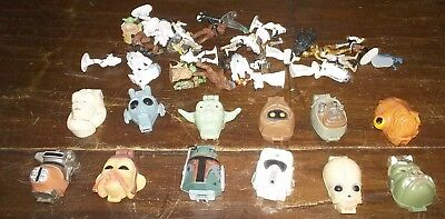 Lot 5 Vintage Star Wars Toys 12 Micro Machine Heads With Miniature Figurines ++