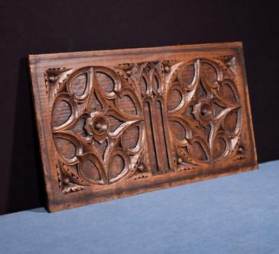 *French Antique Gothic Revival Panel in Oak Wood Salvage 1