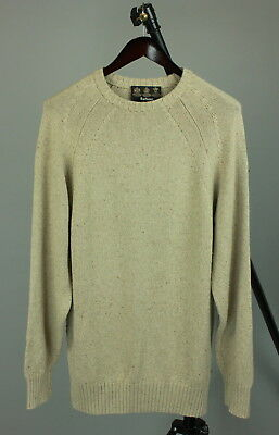 BARBOUR LUXURY PLAIN CREW Men's MEDIUM Silk Blend Soft Long Sweater RCS10278