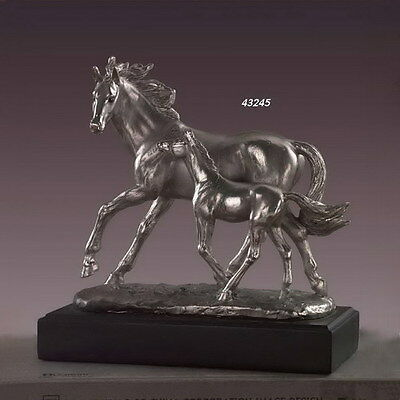 """NEW 2015 STYLE - Mare & Foal Horse Set 9.5"""" x 9""""  Beautiful Pewter/Bronze Statue"""