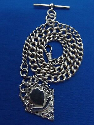GOOD EDWARDIAN 1911 SOLID SILVER POCKET WATCH CHAIN +1908 DOUBLE SIDED FOB 54.8g
