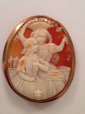 Antique Victorian 9ct Rose Gold Large Oval Carved Shell Cameo Brooch
