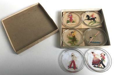 Vintage GLASS COASTERS Pin-Up Decals Women in Sports DIVING GOLF EQUESTRIAN Box