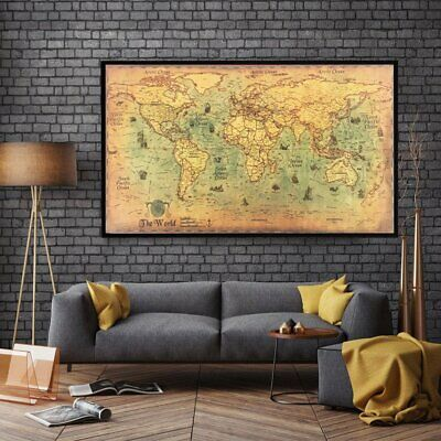 world map nautical ocean map vintage kraft paper poster wall chart sticker YE