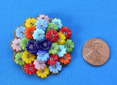 Antique Vintage Czech Glass Flowers Brass Pin Brooch Hand Wired 1 5/8""